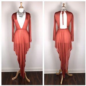 New ASOS Sheer Rust Orange Deep V Swim Dress
